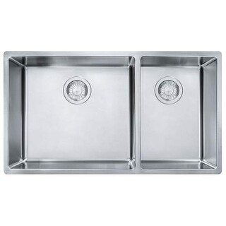 "Franke CUX160 Cube 31-1/2"" Double Basin Stainless Steel Kitchen Sink for Undermo"