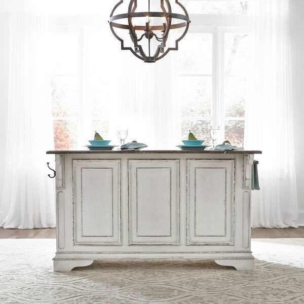 Magnolia Manor Antique White Kitchen Island With Granite Top Overstock 18619067