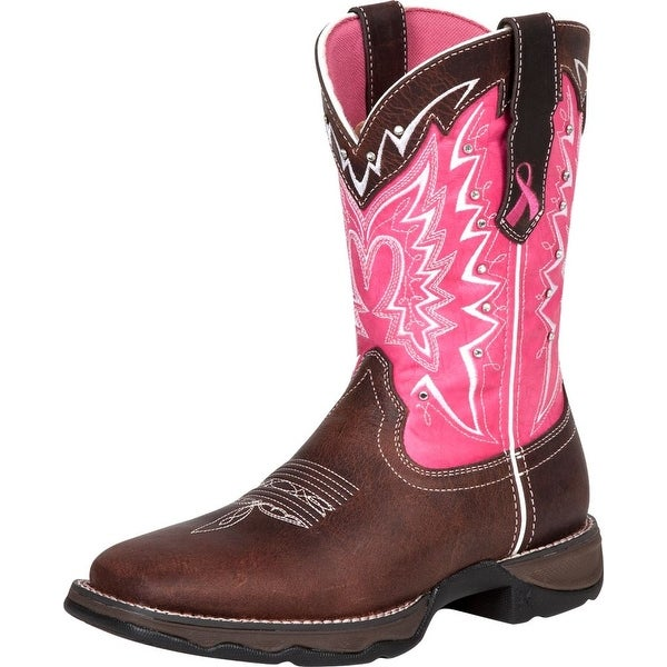 "Durango Western Boots Womens 10"" Rocker Heel Square Toe Brown"