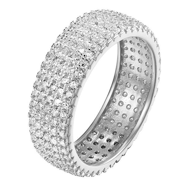 Eternity Ring Sterling Silver White Womens Wedding Band Lab Diamond Bridal