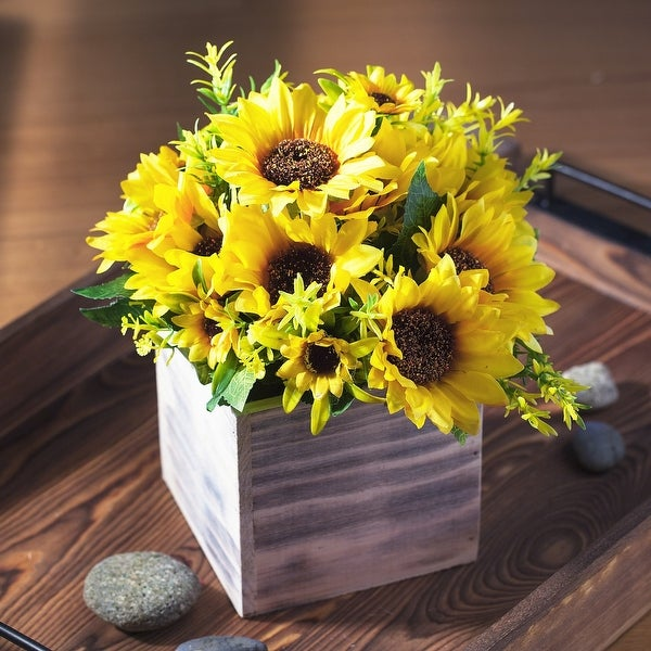 Enova Home Artificial Mixed Silk Sunflowers Fake Flowers Arrangement in Natural Wood Planter for Home Office Decoration. Opens flyout.