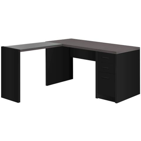 Offex L-Shaped Corner Computer Desk with Storage Drawers - Black/Grey