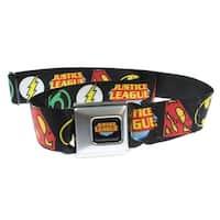 Justice League Symbols Black Seatbelt Belt-Holds Pants Up