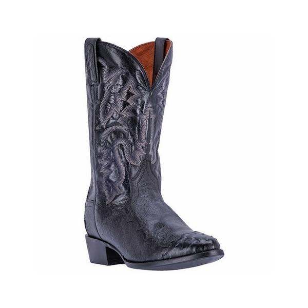Dan Post Western Boots Mens Leather R Toe Cowboy Heel Black