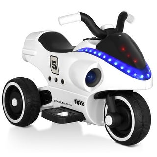 Gymax 6V Kids Ride On Motorcycle 3 Wheels W/ Light Music Horn Pedal Children Toy White