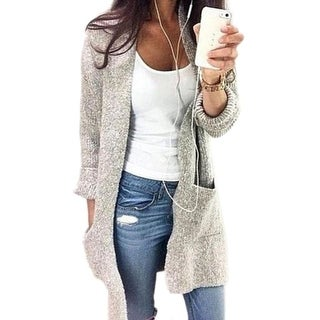 Three-color Big Pocket Sweater Coat