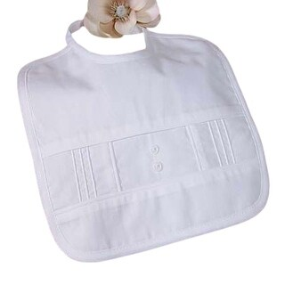 Little Things Mean A Lot Baby White Cotton Bib Pin tuck Baptism Shower