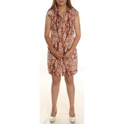 Womens Brown Sleeveless Knee Length Shift Career Dress Size: 2XS