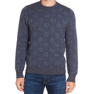 GRAYERS NEW Blue Mens Size Small S Floral Argyle Crewneck Wool Sweater