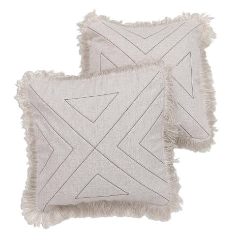 Cotton cushion covers, 'Triangle in Natural' (pair)