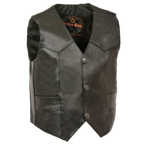 Kids Basic Leather Three Snap Vest