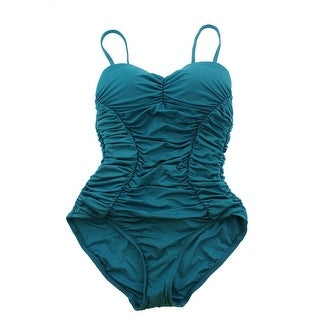 Badgley Mischka Womens Bandeau Shirred One-Piece Swimsuit - 12