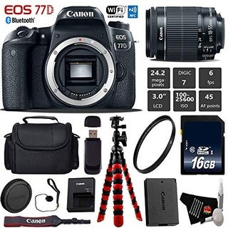 Canon EOS 77D DSLR Camera with 18-55mm is STM Lens + Flexible Tripod + UV Protection Filter + Card Reader - Intl Model