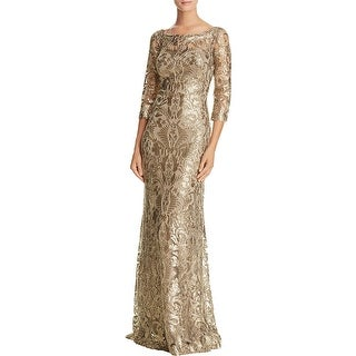 Tadashi Shoji Womens Evening Dress Mesh Sequined