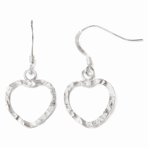 Sterling Silver Textured Heart Shepherd Hook Dangle Earrings