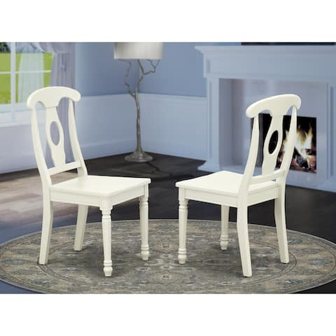 KEC-LWH-W Kenley Nappoleon-Styled Dining Chair with Plain Wood Seat in Linen White Finish (Set of 2)