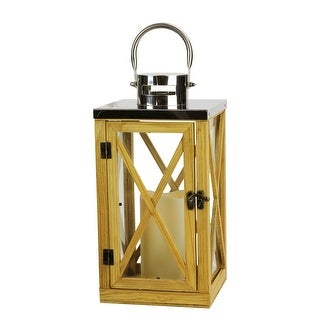 "13.5"" Rustic Wood and Stainless Steel Lantern with LED Flameless Pillar Candle with Timer - N/A"