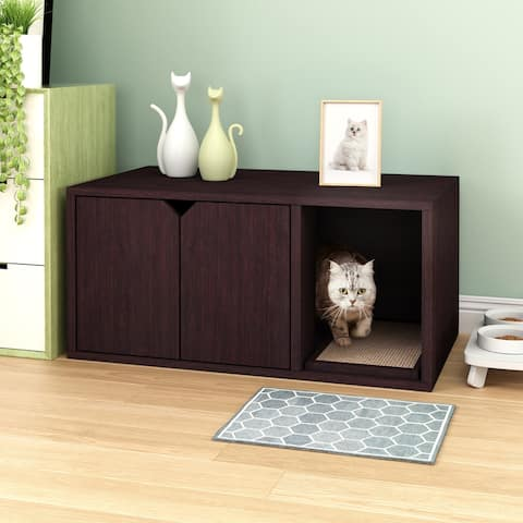 Way Basics Eco Cat Litter Box Enclosure Modern Cat Furniture, Espresso