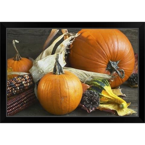 """""""An autumn arrangement of corn and pumpkins"""" Black Framed Print"""