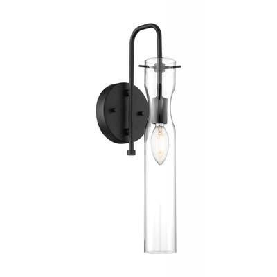 Spyglass - 1 Light Sconce with Clear Glass - Black Finish