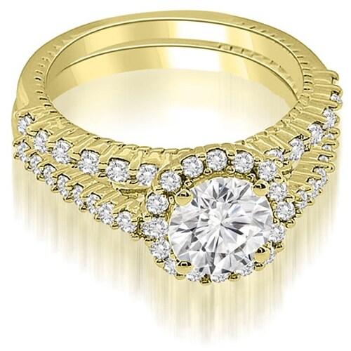 1.47 cttw. 14K Yellow Gold Antique Halo Round Cut Diamond Bridal Set