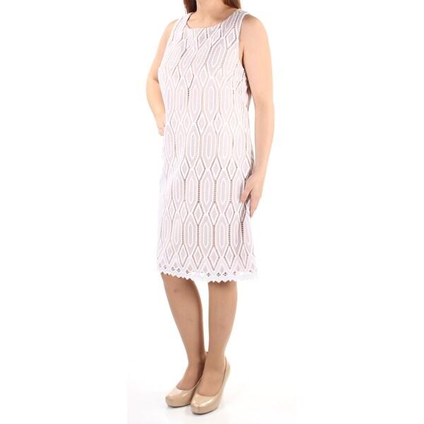 VINCE CAMUTO Womens Beige Lace Sleeveless Jewel Neck Below The Knee Sheath Dress Size: 10