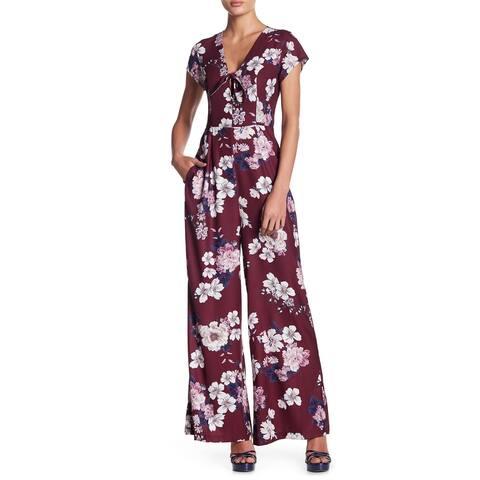 Yumi Kim Maroon Red Multi Womens Size Medium M Floral Jumpsuit