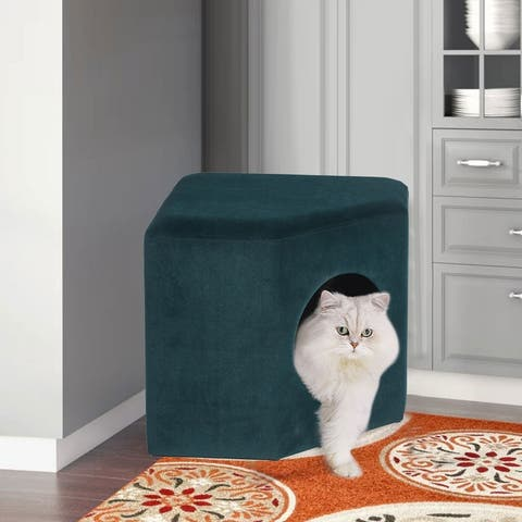 Adeco Cat Dog Condo Ottoman Square Foot Stool with Cave Inner Pad Small