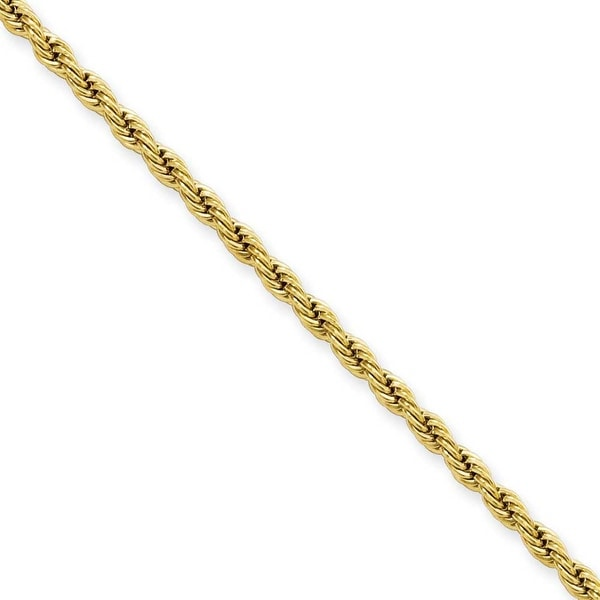 Stainless Steel IP Gold-plated 2.3mm 18in Rope Chain (2.3 mm) - 18 in