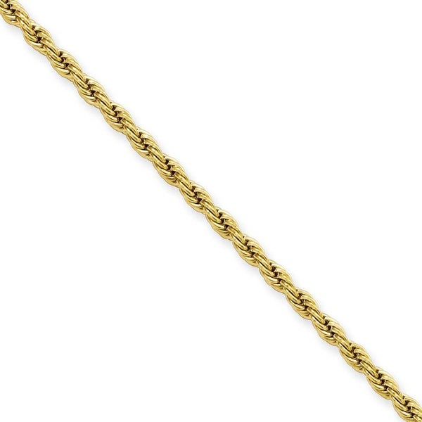Stainless Steel IP Gold-plated 2.3mm 30in Rope Chain (2.3 mm) - 30 in