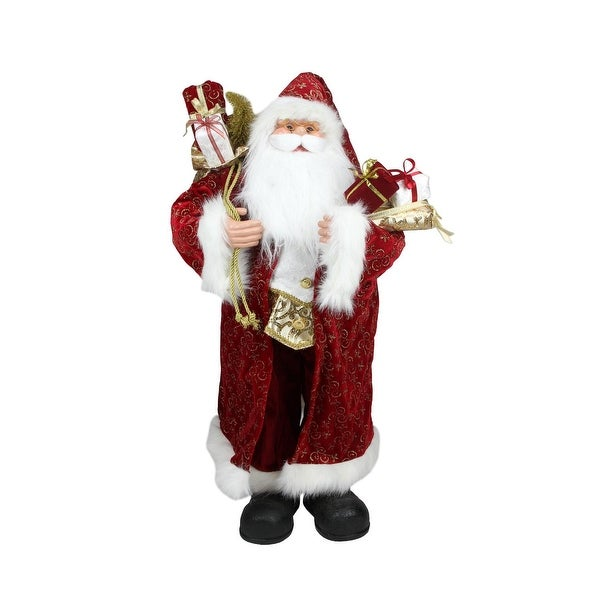 """32"""" Standing Santa Claus in Long Red and Gold Robe with Gifts Christmas Figure"""