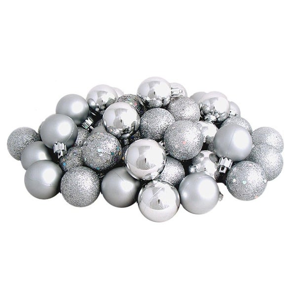 "96ct Shatterproof Silver Splendor 4-Finish Christmas Ball Ornaments 1.5"" (40mm)"