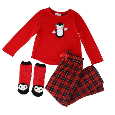 Rene Rofe Girl's Long Sleeve Pajama Set with Slipper Socks