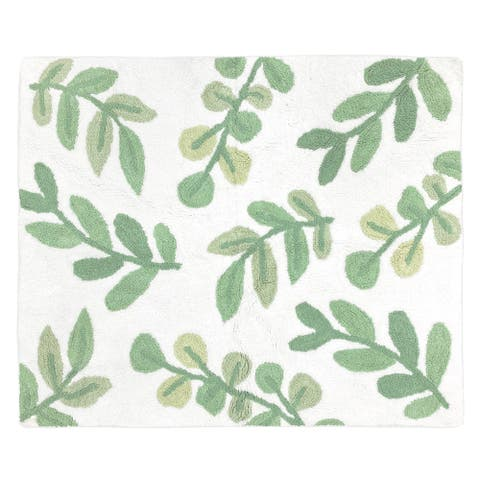 Floral Leaf Collection Accent Floor Rug (2.5' x 3') - Green and White Boho Botanical Woodland Tropical Garden Leaves Nature