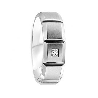 Grooved Matte Cobalt Men's Wedding Band with Round Cut Diamond by Crown Ring - 7mm