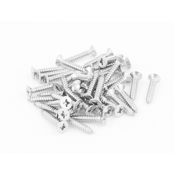 Exceptional Unique Bargains 5.5mmx32mm Countersunk Cross Head Self Tapping Screw  Fastener Silver Tone 40 Pcs