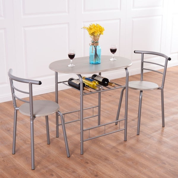 5ad7836f0 Costway 3 Piece Dining Set Table 2 Chairs Bistro Pub Home Kitchen Breakfast  Furniture - as