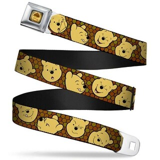 Honey Pot Full Color Black Browns Winnie The Pooh Expressions Honeycomb Seatbelt Belt