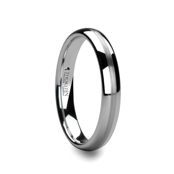 THORSTEN - HELEN Domed White Tungsten Wedding Band with Brushed Center Stripe - 4mm