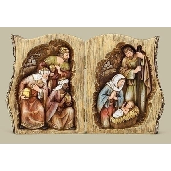 "13.75"" Joseph Studio Nativity Scene Folding Log Table Top Decoration"