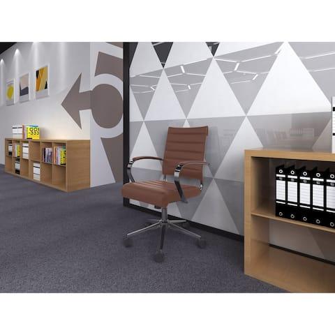 Modern Designer Mid-back Ribbed Faux Leather Tilting Task Chair