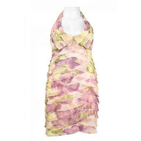 JS Collections Halter Neckline Garden Print Dress, Multi, 14