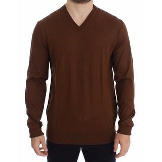 Dolce & Gabbana Dolce & Gabbana Brown Silk Cashmere V-neck Sweater Pullover Top