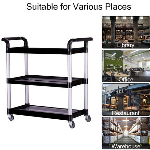 Coutlet Heavy Duty 3-Shelf Rolling Service/Utility/Push Cart, 330Lbs. Black, for Foodservice / Restaurant / Cleaning