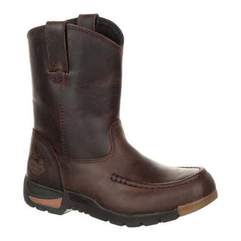 Georgia Boot Children's GB00232C Athen's Pull-On Boot Brown Full Grain Leather