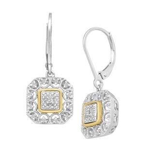 1/10 ct Diamond Filigree Drop Earrings in Sterling Silver & 14K Gold