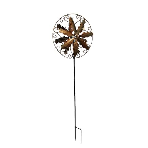 Antique Copper Finish Metal Art Leaf and Scroll Wind Spinner Garden Stake - 84.5 X 27 X 6 inches