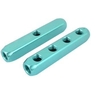 Unique Bargains 11mm 4 Way Pass Connect Air Hose Inline Manifold Splitter Block Teal