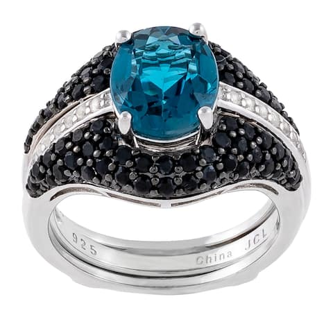 2-Piece Oval London Blue Topaz with Insert Bridal Set Ring, Sterling Silver