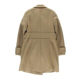 MICHAEL Michael Kors Womens Wool Blend Buckle Detail Pea Coat